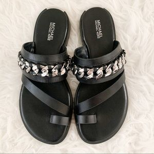 Toe Ring Sandal With Chain Detail.